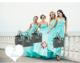 8 bridal party tote bags, monogrammed bridesmaid gift, wedding thank you gift, personalized bridal bag, wedding gift bag, bachelorette bag
