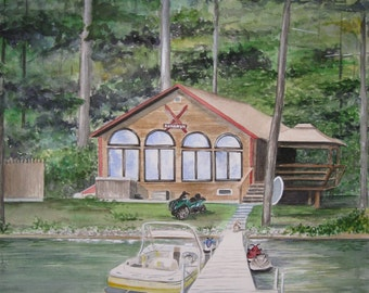 CUSTOM VACATION HOME Portrait, One of a Kind Realtor Closing Gift, Wedding or Housewarming Gift in Watercolor  by Suzanne Churchill