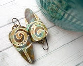 Polymer Clay Earrings Jewelry featuring an Abstract Swirl Design in Gold, Brown and Turquoise