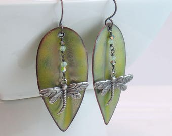 Pale Green Long Leaf Dangle Earrings, Silver Dragonfly, Luminous Copper Enamel, Vitreous Enamel Art Jewelry, Artisan Earrings, Gift for Her