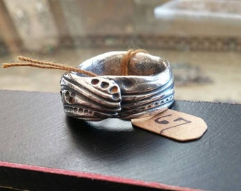 Artisan fine silver river stones and ripples ring