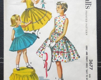McCall's 3677 - Beautiful 1950s Toddler Girls' Dress - Size 4 - Easy to Sew - Full Skirt, Cute Fashion Illustration - UNCUT - Mademoiselle