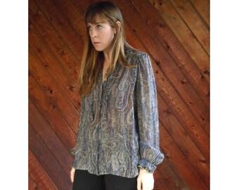 Sheer Metallic SILK Paisley Print Blouse - Vintage 70s - MEDIUM