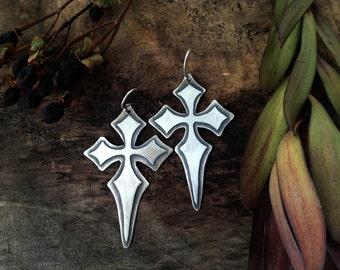 gothic cross earrings, sterling silver earrings, goth jewelry, cross earrings, large gothic cross, dark arts jewelry,