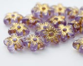 Purple Gold Carved Acrylic Flower Beads 15mm (20)