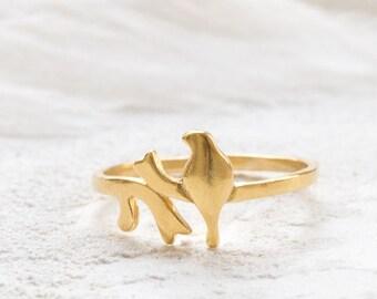 Bird on Branch Ring , Delicate Bird Ring