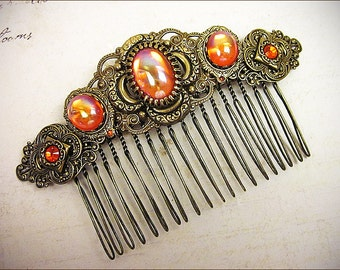 Orange Renaissance Comb, Hyacinth, Medieval, Renaissance Wedding, Tudor Hair Accessory, Faire, Medieval Jewelry, Garb, SCA, Bridesmaid Comb