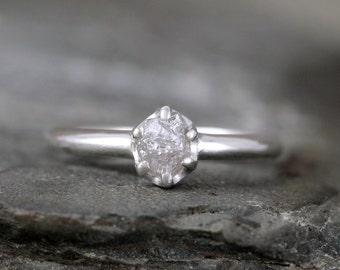 Raw Diamond Engagement Ring - Sterling Silver Six Claw Setting - 1/2 carat Rough Uncut Diamond Gemstone - Shiny Polish  - Promise Ring
