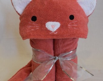 Coral Kitty Cat Hooded Bath Towel-  Perfect birthday gift for Infant / Toddler / Child