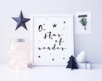 Star of Wonder Christmas Art - Printable Christmas Art - Black Christmas Decor - Modern Christmas Decor - Calligraphy Print - Printable Sign