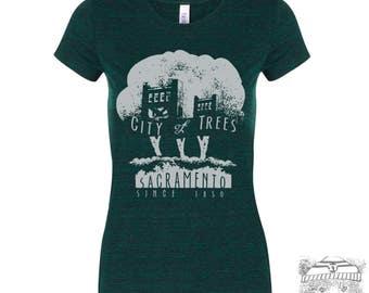 Womens CITY of TREES Lightweight Tri Blend t shirt [+Colors] s m l xl xxl hand screen printed