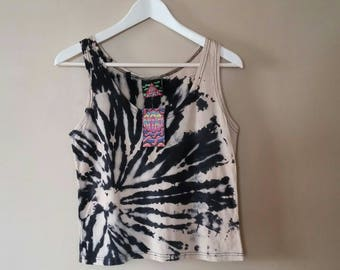 SMALL WOMEN'S Reverse Tie Dye tank. Discharge black and white Spiral pattern tank top