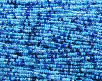 10/0 Pacific Blues Mix Czech Glass Seed Beads - 12 Strand Hank (ES18) SE