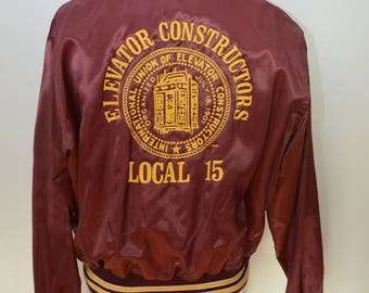 "Vintage ELEVATORS CONSTRUCTORS UNION satin baseball jacket coat xl usa chain stitched ""Jim"""