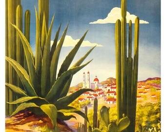 Mexico Travel Poster Advertisement circa 1925 Art Print - Wall Art - Vintage Travel Art Poster - Mexican Art - Mexico Desert Cactus Art