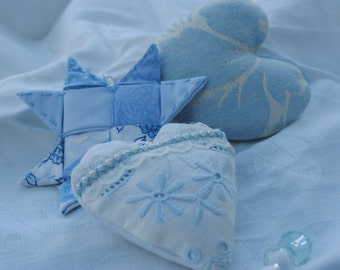 Hanging Blue and White Fabric Heart and Star Shabby Chic / Country Cottage Door Hanger / Garland Custom / Made to Order