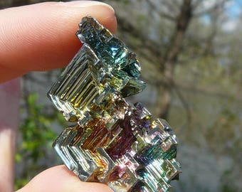 Small Bismuth Crystal #7 ~ Lab-Grown in Germany, Rainbow, Bismuth, Element, Fractals, Iridescent, Faerie, Chakra, Meditation, Color Therapy