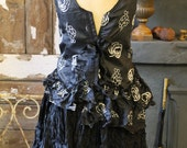 RESERVED******Black crinkled taffeta frilled mini skirt.