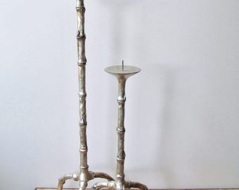 extra tall faux bamboo candleholders pair pillar candlesticks silver pewter gold designer hollywood regency california