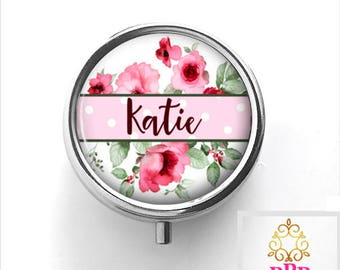 Personalized Pill Box | Pink Floral Personalized Pill Case Gift | Style 717