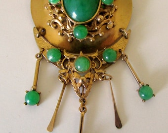 Vintage Faux Jade and Gold Huge Brooch Pin Victorian Style Great for Hat or headband