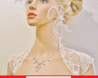 Wedding Bolero, Lace STRETCHY, Delicate Vintage Style Bridal Shrug, High Quality