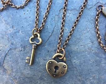 Antiqued Brass Key to My Heart Necklace Set- love, couples & friends - two necklaces with heart lock and key charms - free shipping in USA
