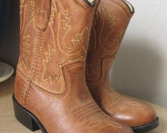 Vintage 60s Toddler Cowboy Western Brown Leather Boots Toddler Size 6