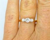 Antique Diamond engagement ring Edwardian 18ct Platinum 3 three stone Trilogy 0.35ct VS1 Classic Vintage English proposal ring*FREE SHIP