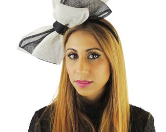 Black Cream 12 Inch Cliverina Fascinator Hat for Kentucky Derby, Weddings With Headband