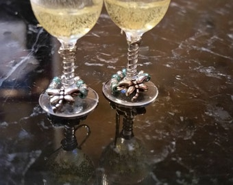 "1-3/8"" CHAMPAGNE Earrings with Tiny Silver Dragonfly Wine Charm"