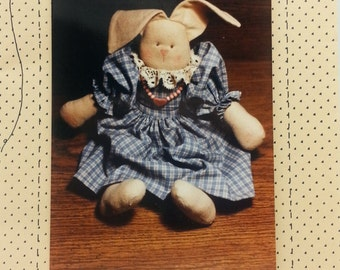 """County Stitches Love Bunny Craft Pattern by Brenda Gervais 1987 (c) 13"""" inch tall Soft Country Bunny"""