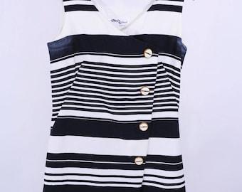 "1960s mod romper | TLC black white striped button romper | vintage 60s playsuit | W 31"""
