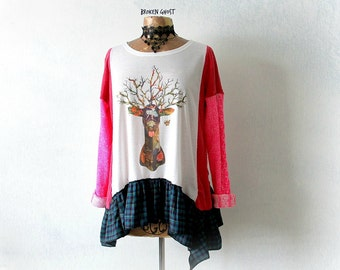 Mori Girl Woodland Deer Women's Boho Shirt Upcycled Clothing Hot Pink Long Sleeve Tunic Altered Plaid Top Loose Cozy Sweater M L 'BROOKLYN'
