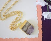 Amethyst Slice Crystal Pendant, Amethyst Necklace, Amethyst Slice, Gold Amethyst Slice, Gold Plated Purple Rock,AMS20