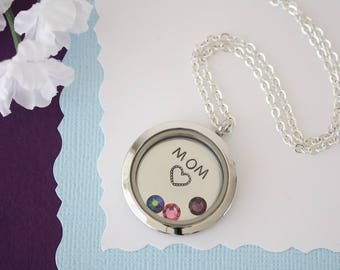 Mom Floating Locket Necklace Personalized, Mother Gift, Birthstone Charm, Heart Charm, Monogram Necklace, Mom, GG, Gigi, Grandma, Gma