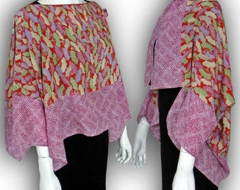 Japanese Kimono Recycled- 2-Way Origami Blouse Shrug - Two-Tone / Multi Color Folding Fan