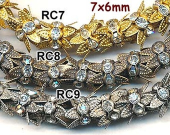 Beautiful RHINESTONE CROWNS for 6mm Beads--20 pieces