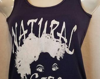 """Navy Blue Natural Tank Top T Shirt / Dark Blue """"My Natural is Beautiful"""" and """"Natural Girl"""" Tank Top"""
