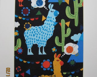 "RARE FABRIC ART Design - Molly Llama from Hoffman Fabrics - Mounted For Framing  - 8""x10"" Matted Image - Final Size with Board 11""x14"""