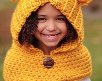 Crochet Hooded Bear Cowl Child Hat Kids Scarf Baby Hat with Ears Crochet Scarf Winter Hat Chunky Cowl Crochet Hat Chunky Hat - MADE TO ORDER