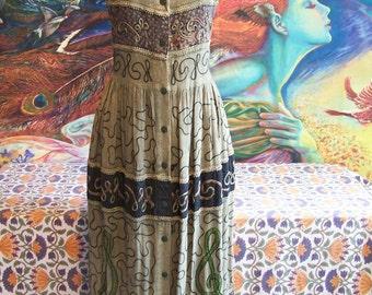 Boho Dress, Embroidered Dress, Indian dress, Boho maxi dress, Hippie dress, size M / L