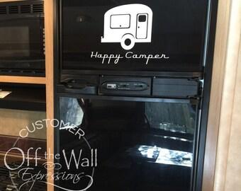 Happy Camper decal, RV vinyl decal, vintage camper trailer decor, retro travel decal