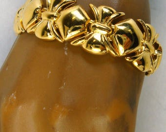 BRACELET, Shiny Gold Linked BOWS, 1980s, Nice, Never Used, Hook Clasp