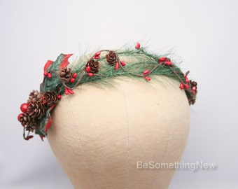 Christmas Flower Crown Winter Wedding Floral Crown, Holiday Red and Green Halo Pine Cone and Greenery Wedding Headpiece Holiday Party attire