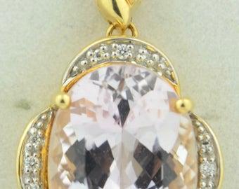 Large 12 Carat Kunzite 14K Diamond Pendant
