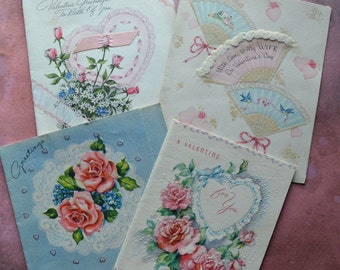Vintage Romantic Valentine Greeting Cards Ribbons Glitter Roses Hand Fans