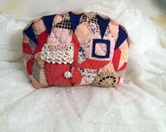 Camper Trailer Pillow, Vintage Style, Handmade Pillow Made from an Old Quilt Block, Rustic Country Cottage Decor, Vintage Embellishments