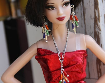 Colorful Doll Statement Necklace Bracelet and Earring Set for 11 1/2 - 12 inch 1/6th Scale Fashion Dolls