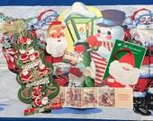 Vintage Christmas Paper Collection Decorations Cards, Santa Claus Crepe Paper, Snowman, Gift Present Seals, Bear, Toy, Ephemera 40s 50's 60s